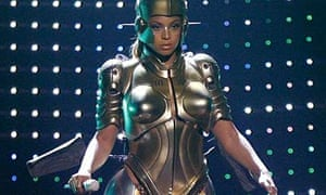 Beyonce on stage wearing a robot costume