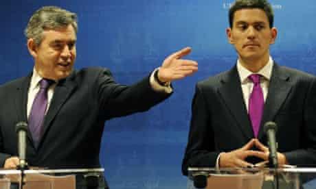 Plum jobs ... Gordon Brown and David Miliband