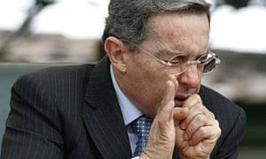 Alvaro Uribe, the Colombian president, sneezes