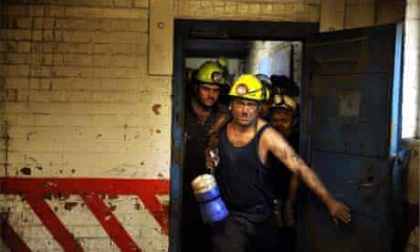 Miners at Daw Mill Colliery in Warwickshire