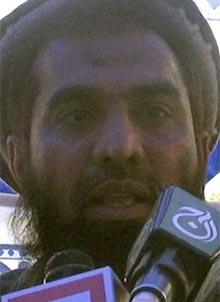 Zaki-ur-Rehman Lakhvi speaks during a rally in April 2008