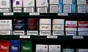 Cigarettes on display at a shop