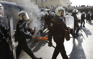 Gallery Greek Riots Continue: Police officers stand in formation