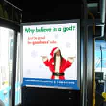 An ad from the American Humanist Association inside a bus in Washington DC. (Photograph: American Humanist Association)