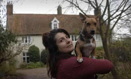 Sam Von Danniken with her dog, Hector, at her home in Kettleton, Norfolk