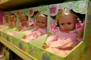 Gallery Children's toys: Rows of dolls at Hamleys