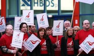 Trade union Unite picket the HBOS annual