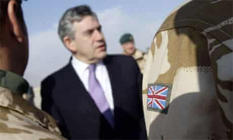Gordon Brown meets troops at Camp Bastion in Helmand Province, Afghanistan