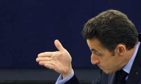 France's president Nicolas Sarkozy addresses the European Parliament in Strasbourg