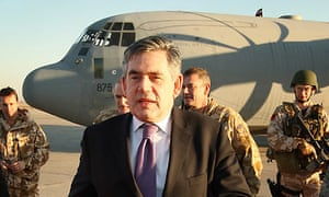 Baghdad, Iraq: Gordon Brown walks from his aircraft on arrival
