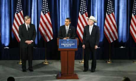 Tom Vilsack, Barack Obama and Ken Salazar