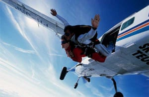 Pair skydive from aeroplane