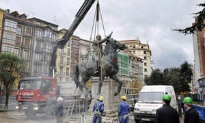 Spanish dictator Francisco Franco's equestrian statue is dismantled in the city of Santander
