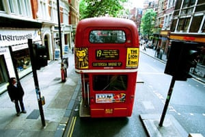Gallery Routemaster: The number 19 bus route, driving along Charing Cross Road