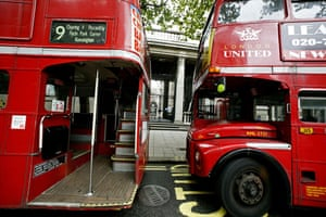Gallery Routemaster: Number 9 Routemaster buses on the Aldwych