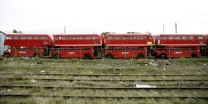 Gallery Routemaster: Retired Routemaster buses in a bus yard in Tolworth, Surrey