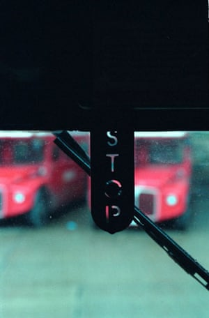 Gallery Routemaster: A view of a Routemaster bus - the stop sign in the driver's cab