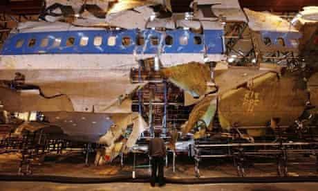 Reconstructed remains of Pan Am flight 103 Lockerbie