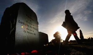 A member of the public visits the Lockerbie memorial