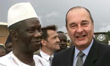 Guinean president Lansana Conté with Jacques Chirac