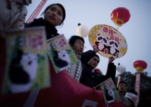 Gallery Panda peace offering: Chinese students and workers hold placards