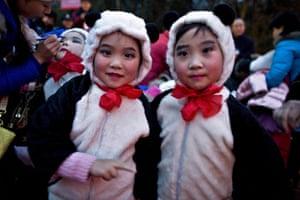 Gallery Panda peace offering: Girls, dressed as panda bears