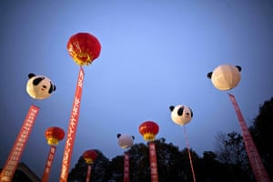 Gallery Panda peace offering: Balloons decorate the sky