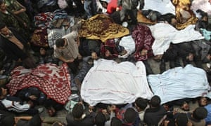 Bodies of Palestinians are seen at hospital in Gaza