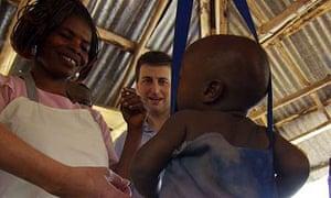 International development secretary Douglas Alexander at a health clinic in Sierra Leone