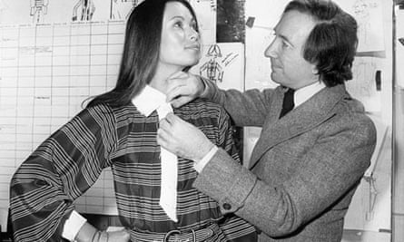 French fashion designer Ted Lapidus with a model