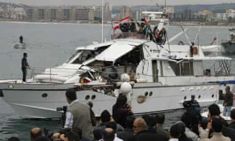 The damaged Free Gaza boat Dignity arrives in Lebanon after its encounter with the Israeli navy.