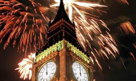 Photomontage of fireworks over the Palace of Westminster