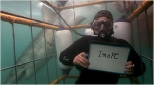 Microsoft advert showing diver