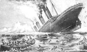Postcard showing Titanic sinking