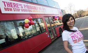 Ariane Sherine poses beside the atheist bus