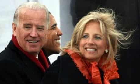 Joe and Jill Biden with president-elect Barack Obama. Photograph: Justin Sullivan/Getty Images