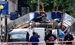 A bus destroyed in the 7 July 2005 terrorist attacks on London. Photograph: Max Nash/AP