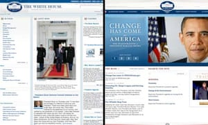 Composite of White House website before and after Barack Obama's inauguration