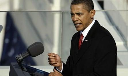 President Barack Obama gives his inaugural address