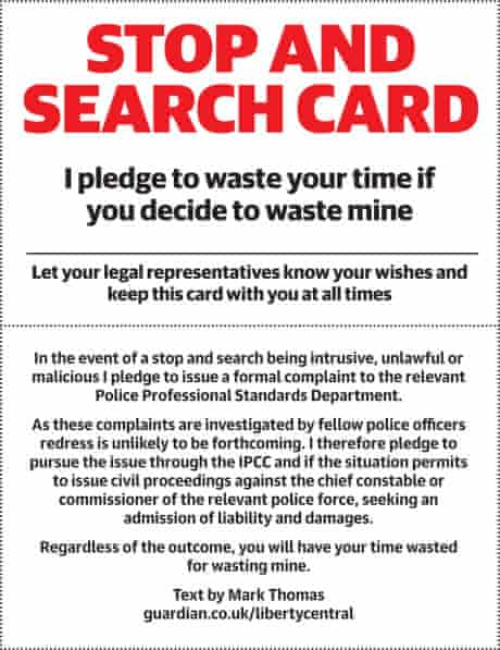 Stop and search card