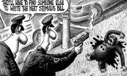 New York Post cartoon, chimpanzee