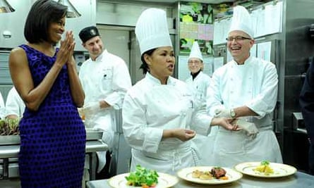Michelle Obama with White House chefs