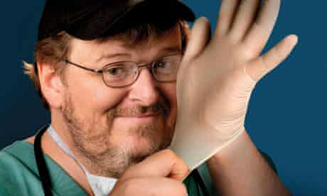 Michael Moore publicising his film Sicko, about the state of the US healthcare system