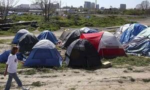 A homeless encampment known as Tent City in Sacramento, California