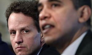 Timothy Geithner and Barack Obama at the White House