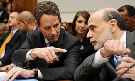 US treasury secretary Timothy Geithner talks to Federal Reserve chairman Ben Bernanke prior to their testimony before the House financial services committee.