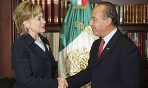 Hillary Clinton and Mexican president Felipe Calderon