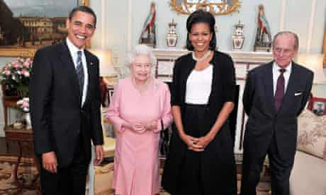 Barack Obama and Michelle Obama pose for photographs with Queen Elizabeth II and Prince Philip, Duke of Edinburgh at Buckingham Palace, 1 April 2009. Photograph: John Stillwell/WPA Pool/Getty Images