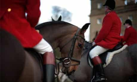 Members of the Albrighton Woodland Hunt gather before the start of their meet