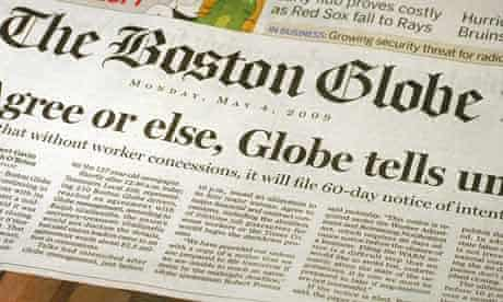 Front page of the Boston Globe newspaper